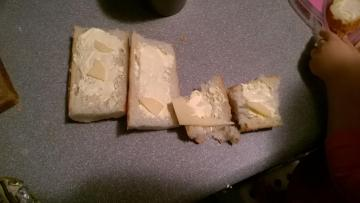 cheese sandwiches - my granddaughter made sandwiches