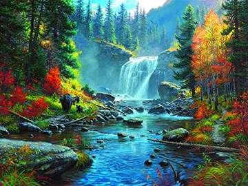 Otoño en el bosque - Rompecabezas: paisaje de otoño.