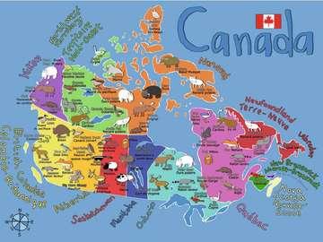 Mapa Kanady. - Układanka dla dzieci: mapa Kanady.