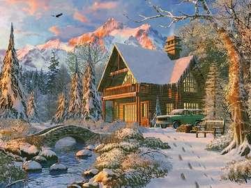Zimowy krajobraz. - Układanka: zimowy krajobraz.