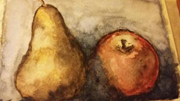 watercolor with fruits - apple and pear - one of the first watercolors