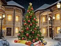 Коледна елха. -  Коледен пейзаж.