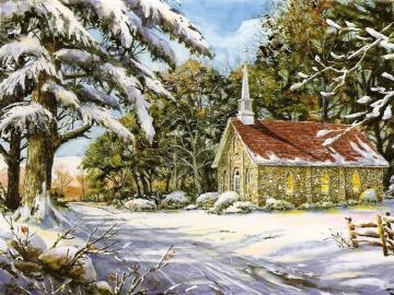 A small church in a snowy scenery - A small church standing out of the way