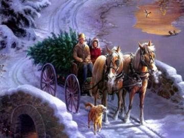 Presto la vigilia di Natale - Un carro trainato da cavalli con un bellissimo albero di Natale