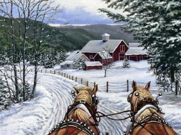 Ritorna a casa - Un carro trainato da cavalli su una strada innevata
