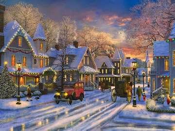 Weihnachtslandschaft. - Puzzle: eine festliche Landschaft.