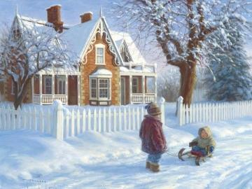 Divertimento sulla neve - Slittino per bambini