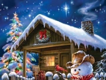 Una casa affascinante in ambiente invernale - Pupazzo di neve sullo sfondo di una casa innevata