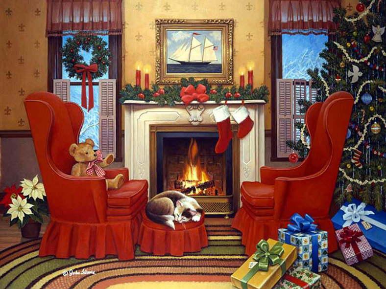 Interni di Natale. - Puzzle: interni di Natale.