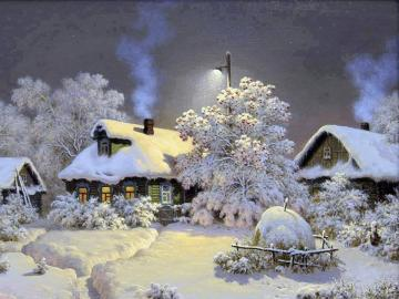 Village in white - A small village covered with snow