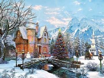 Paisaje de diciembre - Puzzle. Paisaje de invierno