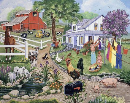 A la campagne - Country life. Puzzle: rural landscape. Interesting life in an old village (11×9)