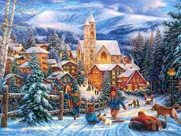 Zimowe zabawy. - Zimowe zabawy na śniegu.