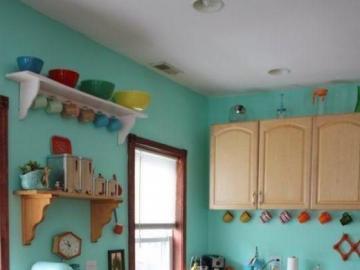 Türkisfarbene Küche - Kücheneinrichtung mit türkisfarbenem Motiv