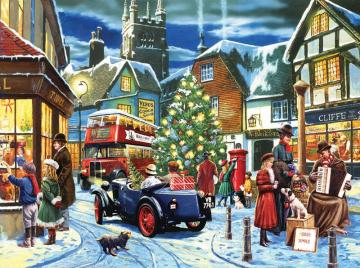 English town. - English town. Urban landscape during Christmas. Christmas fever.
