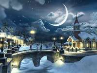 Zimní noc - Krásný měsíc v zimní noci.