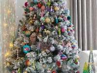 Christmas tree - Christmas tree decoration. A colorful tree.