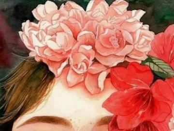 Woman in Flowers - An image of a woman in peach flowers