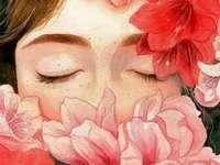 Žena v květech