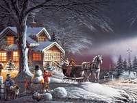 Szánkózás. - Őszi este. Fekvő. Puzzle. Táj. Őszi este. Szánkózás. Karácsony.