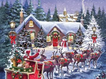 Santa with reindeers. - Jigsaw puzzle. Santa with reindeers.