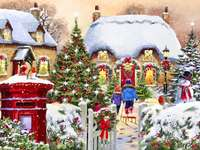 Painting. - Art. Christmas in painting. Christmas painting.