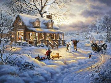 Winter in painting. - Puzzle: winter in painting.