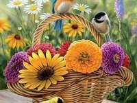cesta de flores de pássaros - pássaros flores cesta paisagens
