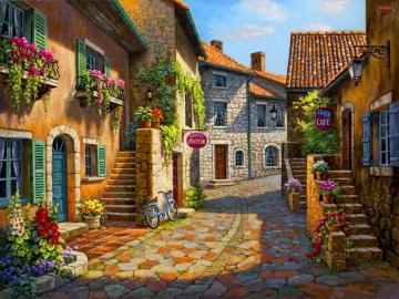 A picturesque street with stone stairs - A picturesque street with stone stairs