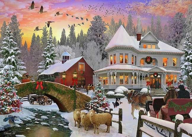 Vánoční večírek - Vánoční puzzle. Vánoční večírek. krajina (10×10)