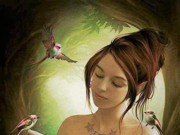 donna elfo uccelli magici - donna elfo uccelli magici