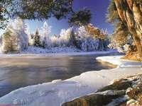Χειμώνας στον ποταμό. - Παζλ: χειμώνας στον ποταμό.