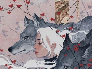 Weißhaarig mit einem Wolf - Weißhaarige Frau mit einem Wolf
