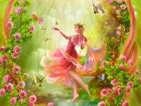kobieta różyczki motylki