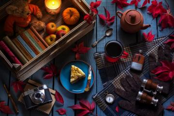 Autumn, Composition, Books, Apples, Compass - Autumn, Composition, Books, Apples, Compass