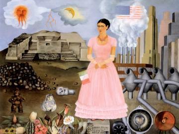 Autorretrato en la frontera entre México y EEUU - 1932, oleo sobre metal, conservado en Nueva York