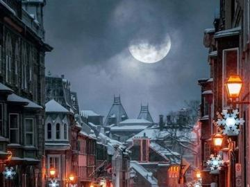 Evening in the city - Evening charm of a snowy city