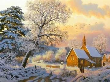 Chiesa del villaggio - Una chiesa del villaggio in uno scenario invernale