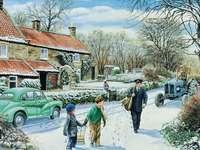 Angol tél. - Postás üzenettel. Kirakós játék: English Winter. A postás kétszer jön.