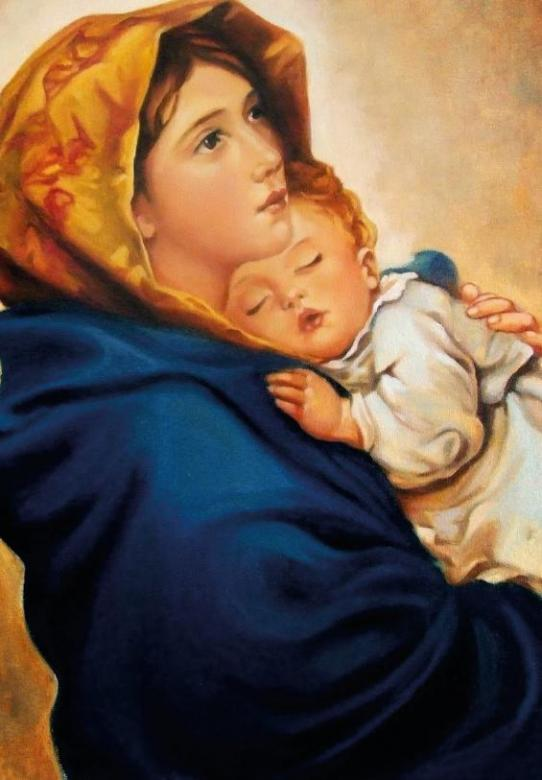 Blessed Virgin Mary - This picture shows the Blessed Virgin Mary with baby Jesus.