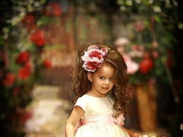 Fille avec un panier plein de fleurs - Fille avec un panier plein de fleurs