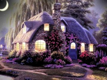 Cottage beautiful night nature - Cottage beautiful night nature