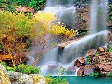 Waterfall. - Jigsaw puzzle. Landscape. Waterfall.