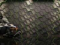 Dunes Hexagon Double - After placing the puzzle, a photo of a snowmobile will be revealed in the off-road vehicle store on