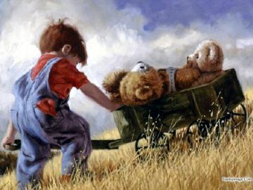 Ragazzo e orsacchiotti - Ragazzino che spinge un carrello con gli orsacchiotti