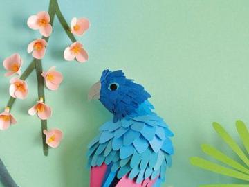 Papierkunst - Ein bunter Vogel aus Papier
