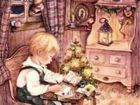 Chlapec píše ježíškovi o dárky - Chlapec píše ježíškovi o dárky