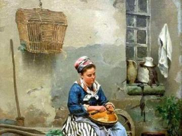 Kobieta przy pracy - Obraz kobiety podczas pracy, puzzle sztuka