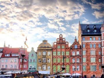 Kolorowe miasto Gdańsk - Puzzle krajobrazy, Gdańsk, Polska
