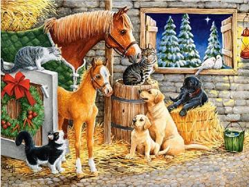 Animals in winter. - Animal puzzle.